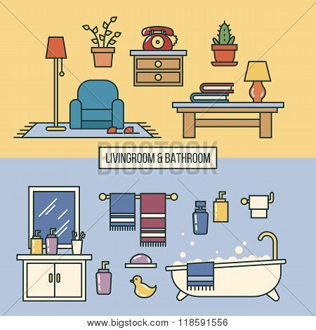 Bathroom and livingroom interior kit