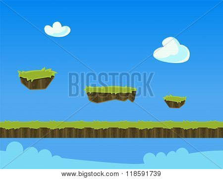Cartoon Nature Landscape, with Grass and Cloud for Platform Games. Vector Illustration
