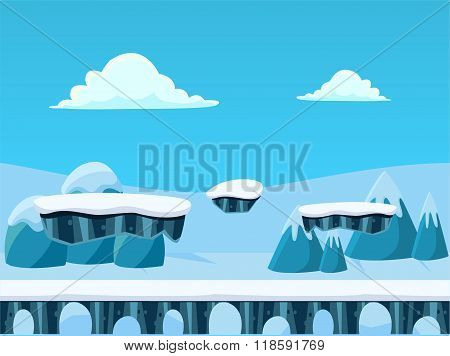 Winted Seamless Background with Bridge for Platform Games. Vector Illustration