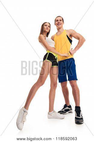 posing sporty fitness couple portrait full length
