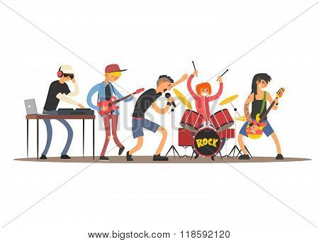 Musicians on a Concert. Vector Illustration