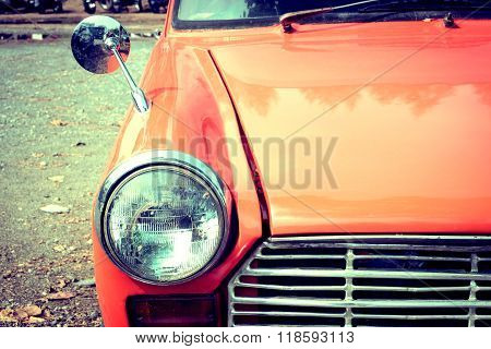 Close-up Headlight Of Colourful Classic Car