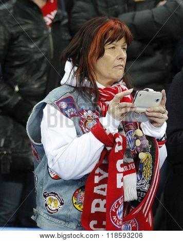 MUNICH, GERMANY - MARCH 11 2015:  A Bayern Munich fan before the UEFA Champions League match between Bayern Munich and FC Shakhtar Donetsk.