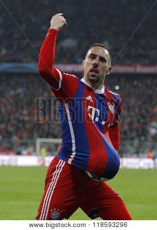 MUNICH, GERMANY - MARCH 11 2015: Bayern Munich's midfielder Franck Ribery celebrates scoring a goal during the UEFA Champions League match between Bayern Munich and FC Shakhtar Donetsk.