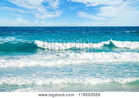 Blue Ocean With Waves And Clear Blue Sky