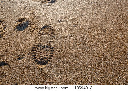 Imprint Of A Shoe Sole In The Wet Sand