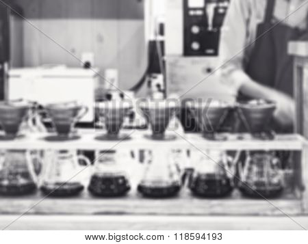 Drip Coffee With Barista Blurred Background Restaurant Cafe Black And White