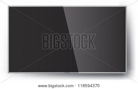 Smart TV Mock-up, Vector Screen, LED hanging on wall