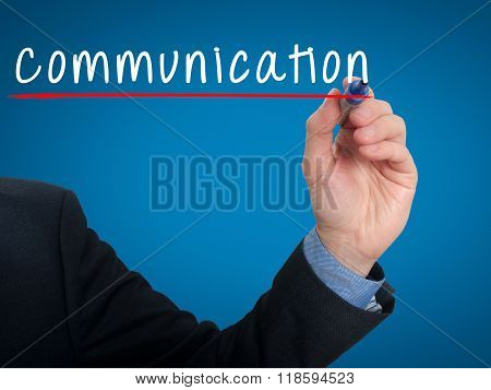 Businessman Hand Writing Communication Concept - Blue - Stock Photo