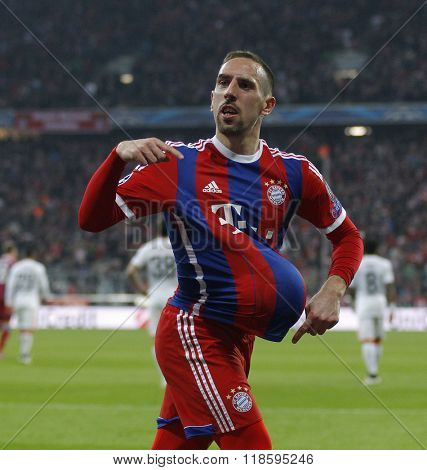 MUNICH, GERMANY - MARCH 11 2015: Bayern Munich's midfielder Franck Ribery celebrates scoring a goal during the UEFA Champions League match between Bayern Munich and FC Shakhtar Donetsk.