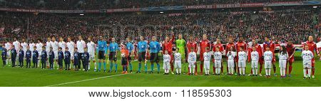 MUNICH, GERMANY - MARCH 11 2015:  Teams line up before the UEFA Champions League match between Bayern Munich and FC Shakhtar Donetsk.