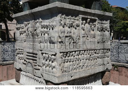 Base Of The Obelisk Of Theodosius In Istanbul, Turkey
