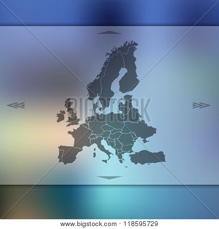 Europe map on blur background