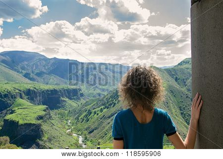Young woman looking at amazing view