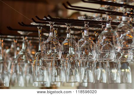 Rows Of Empty Glasses On The Showcase