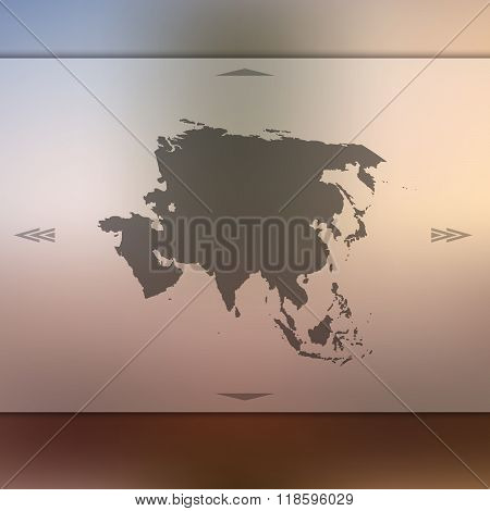 Asia map on blur background