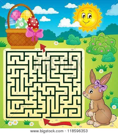 Maze 3 with Easter bunny and egg basket - eps10 vector illustration.