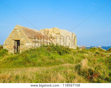 Ancient Stone Barn On The Guernsey Island