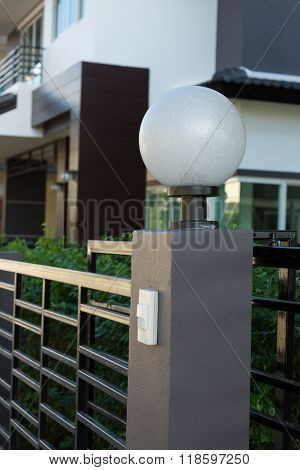 Light Lamp On Front Gate Of Decoration Residential House