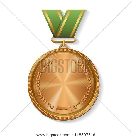 Blank champion  bronze medal with ribbon