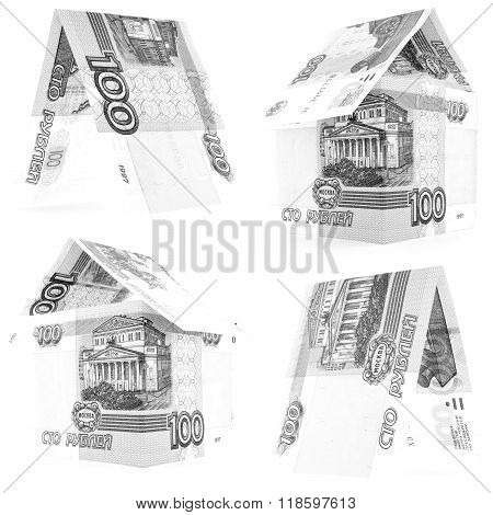 Black 100 Russian Ruble Set, Rouble House Isolated, White Background