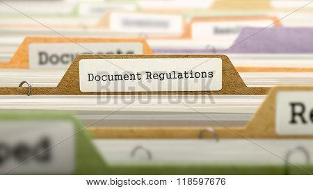 File Folder Labeled as Document Regulations.