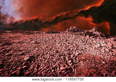 Alien Landscape And Eagle Nebula (elements Of This Image Furnished By Nasa)