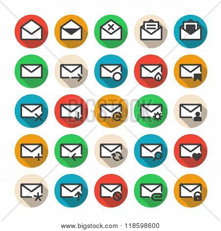 Multicolored mail icons