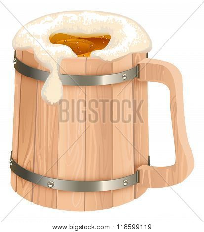 Wooden beer mug. Mug of beer foam