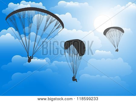 Paraglider in the sky against clouds. Vector illustration.