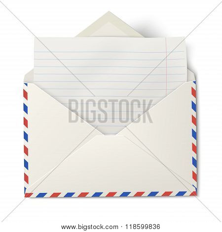 Opened Air Mail Envelope With White Lined Paper Inside Isolated