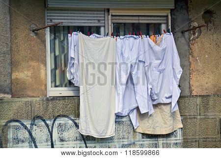 Drying Laundry On A Clothesline