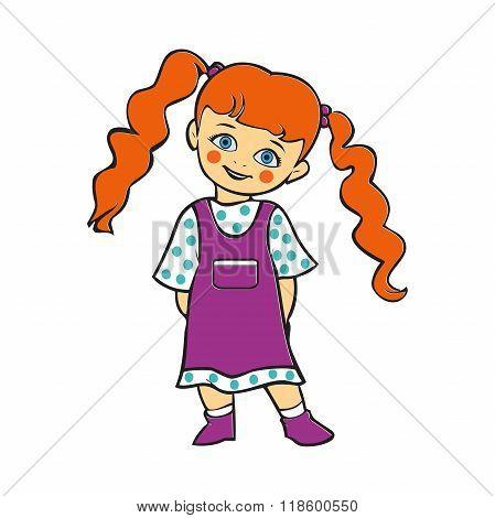 Cute Baby Girl Smiling, Cute Baby Girl In Polka Dot Dress, T-shirt Graphics, Illustration Baby Girl