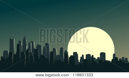 Abstract Illustration Of Big City At Night With Moon.