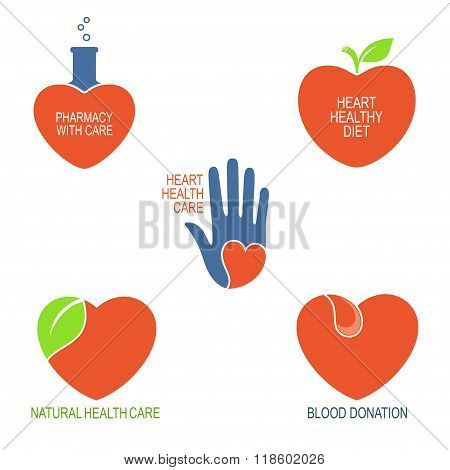 Heart health care icons