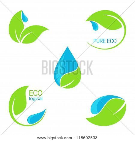 Green leaves and water droplets icons