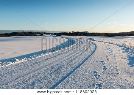 Wintry Road at a countryside