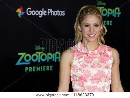 Shakira at the Los Angeles premiere of 'Zootopia' held at the El Capitan Theater in Hollywood, USA on February 17, 2016.