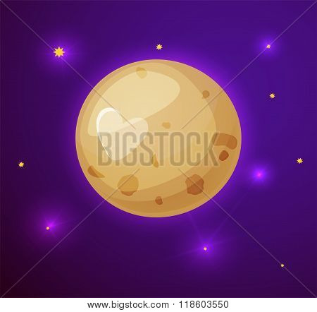 Pluto planet, space objects in cartoon style