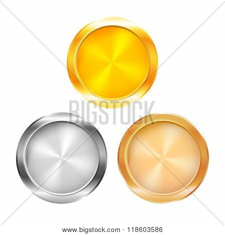 Three blank prize medals, vector illustration