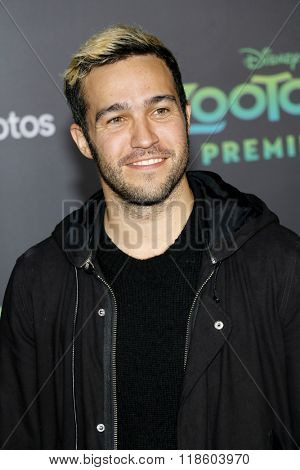 Pete Wentz of Fall Out Boy at the Los Angeles premiere of 'Zootopia' held at the El Capitan Theater in Hollywood, USA on February 17, 2016.