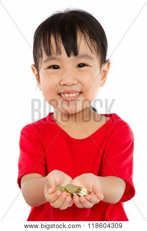 Asian Little Girl Holding Coins For Saving