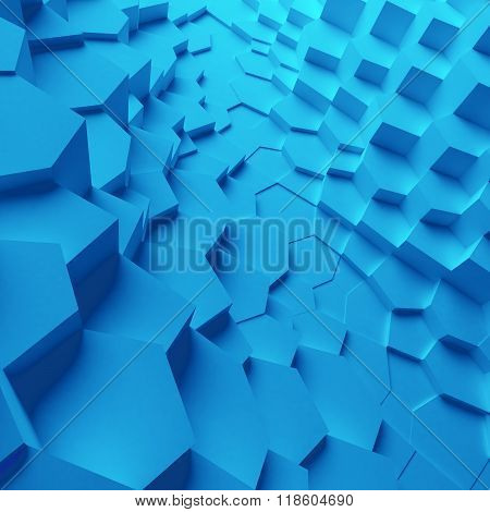 Geometric color abstract polygons, as crack wall. Interior room
