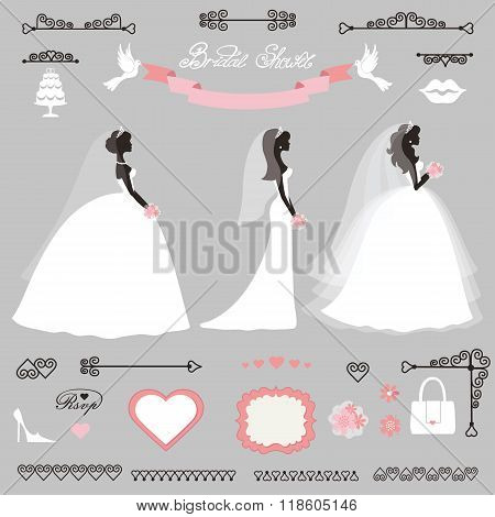Different Bride dress.Wedding bridal shower decor set
