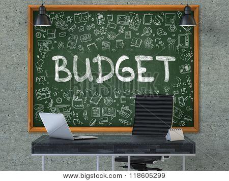 Budget - Hand Drawn on Green Chalkboard.