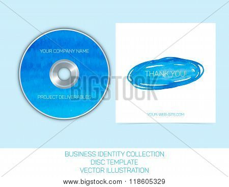 Business identity collection. Blue and turquoise watercolor. CD or DVD cover template. Vector Illust