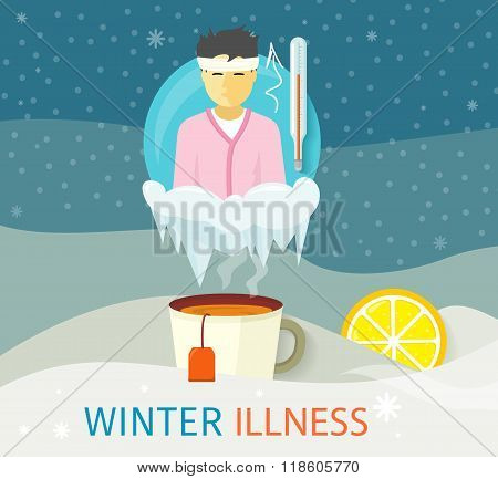 Winter Illness Season People Design