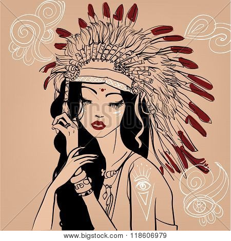 portrait of native american girl