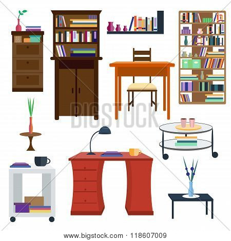 Set of colorful furnitures