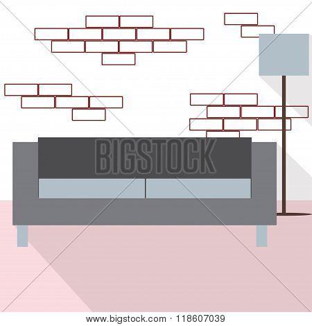 Modern Living Room Loft Design Interior With Sofa And Floor Lamp. Vector Flat Illustration